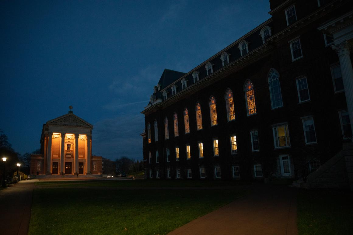 Holy Cross chapel and Fenwick hall at night