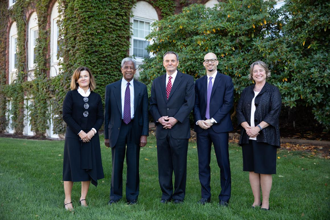 From left to right: Kate Curran '85; Timothy L. Porter '68; Dr. David E. Wazer, M.D.; Benjamin Zawacki '97; and Jane Ryder '82. Photo by Avanell Brock