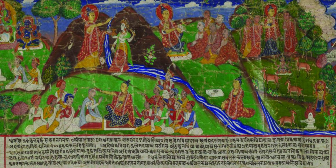 Section of Paubha-Narrative Scroll depicting scenes from the Svayambhupurana, Nepalese, late 18th-early 19th century, opaque watercolor on cloth, 34 3/8 × 235 in. (87.31 × 596.9 cm) Arthur and Margaret Glasgow Fund, Virginia Museum of Fine Art.