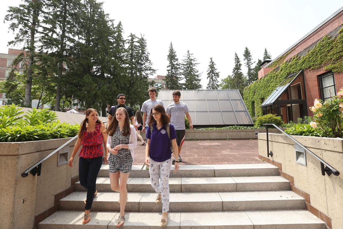 group of students walking down library steps
