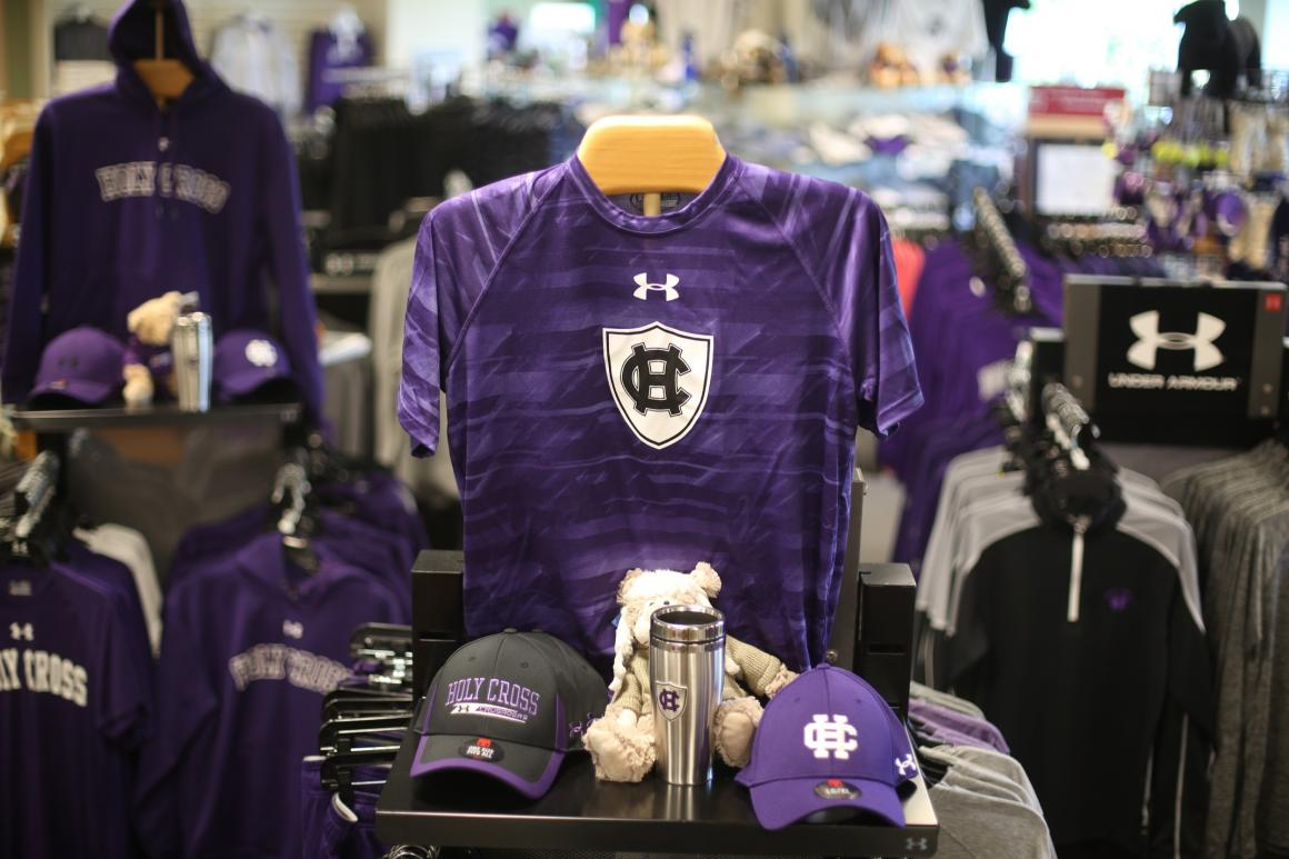 Display of Holy Cross apparel inside store