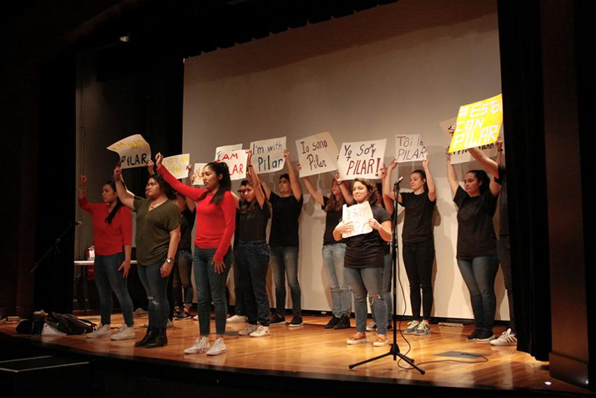"""Uni2ACT, Holy Cross' bilingual theatre troupe, kicked off Academic Conference 2017 with its production of """"Walking Still: Rompiendo Barriers y Building Puentes."""""""