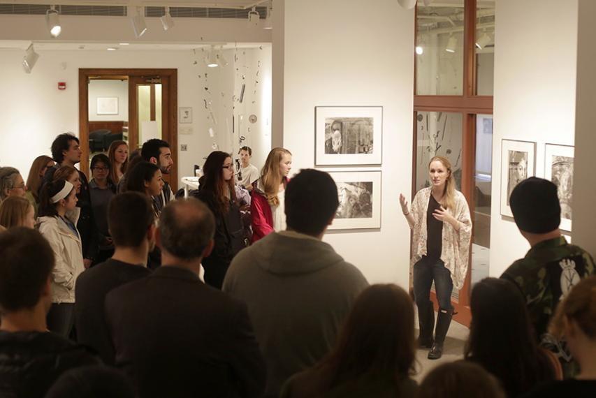 Emily Mutkoski, a psychology and visual arts studio double major, presents in the Cantor Art Gallery.