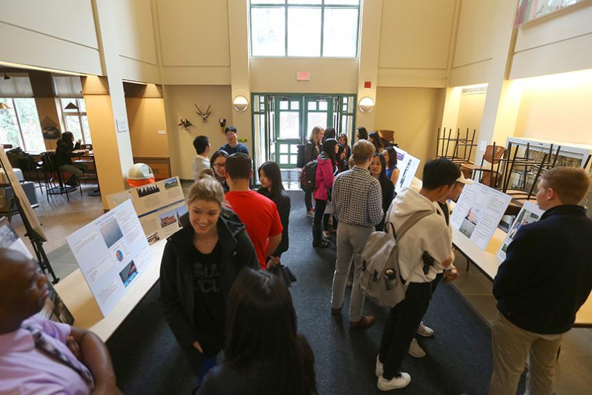 Students in the modern languages and literatures department display posters and give presentations in the Stein Atrium.