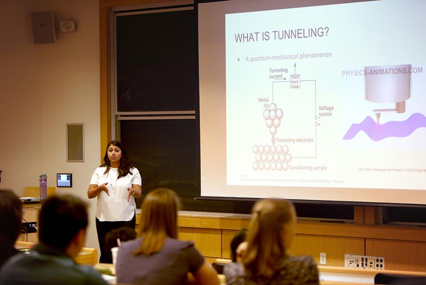 """Chemistry major Suhasini Aravinthan '18 delivers her presentation titled """"Mannich Condensations with Hexamethylene Diamine"""" in Smith Labs."""