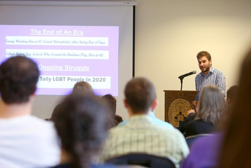 """Keith Plummer '17 presents """"Avowal and Queer Liberation: Discourse, Identity, and Social Change"""" as part of the sociology and anthropology honors program."""