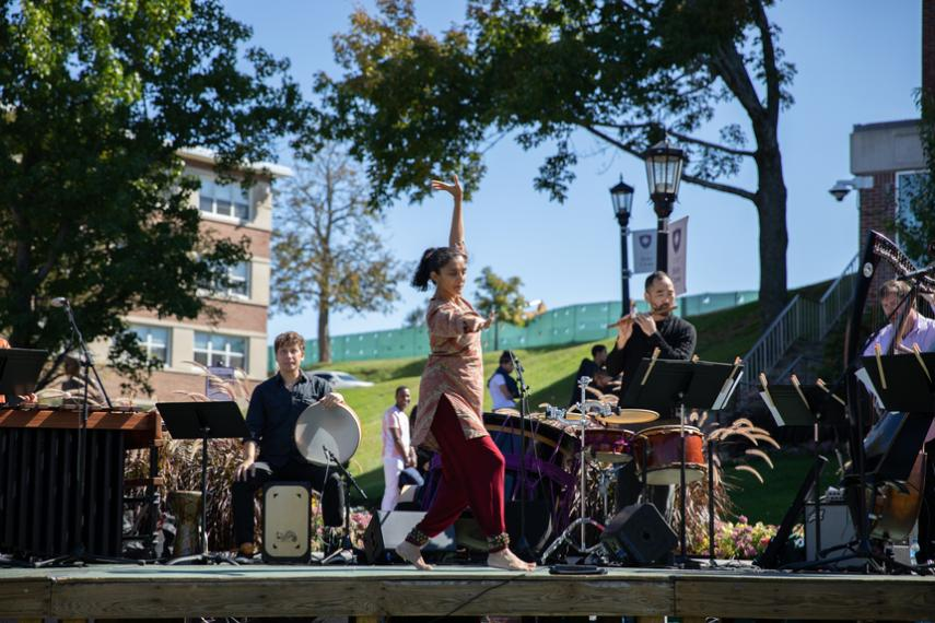 Silkroad Ensemble performs on the Hoval as part of the Festival of the Arts at Holy Cross