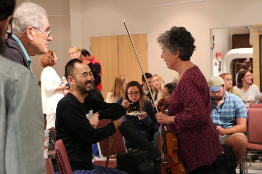 Jam session participants and audience join Silkroad Ensemble in a reception afterwards