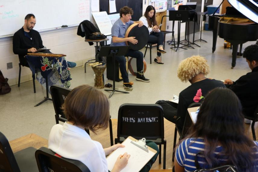 Visual arts students at Burncoat High respond to music performed by Elena Wang '20 and Silkroad musicians