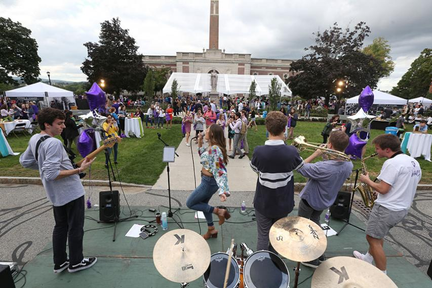 Student band SCONE performs on the Kimball quad. Photo by Tom Rettig