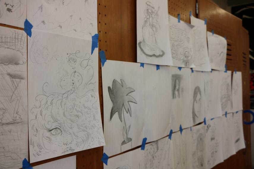 Burncoat High visual arts students' responses to different styles of music performed by Elena Wang '20 and Silkroad artists