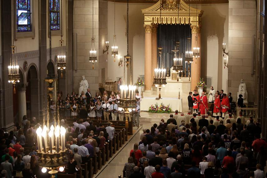The St. Joseph Memorial Chapel filled with students, faculty and staff for the 175th Anniversary Mass. Photo by Tom Rettig