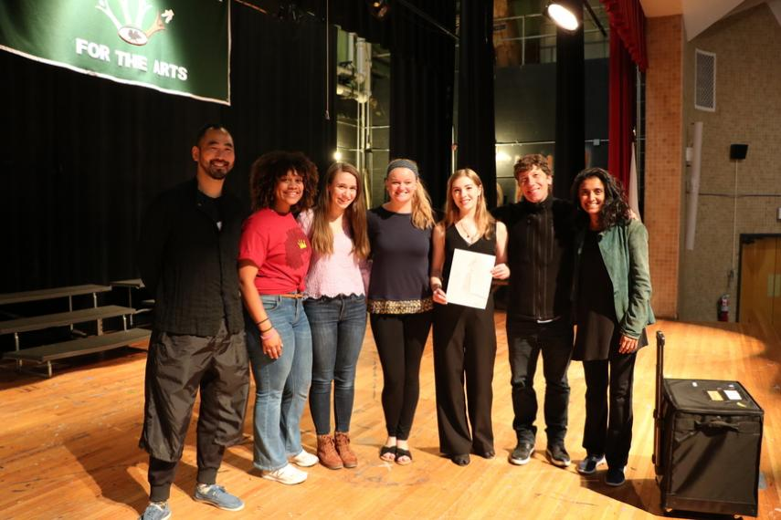Silkroad artists and collaborating Holy Cross students on stage at Burncoat High School