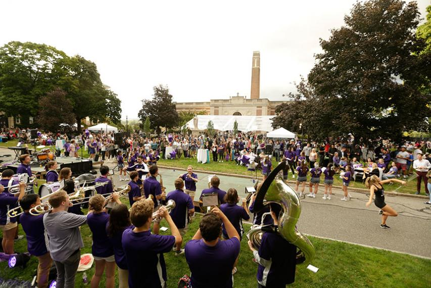 The Crusader Pep Band plays to a packed crowd. Photo by Tom Rettig