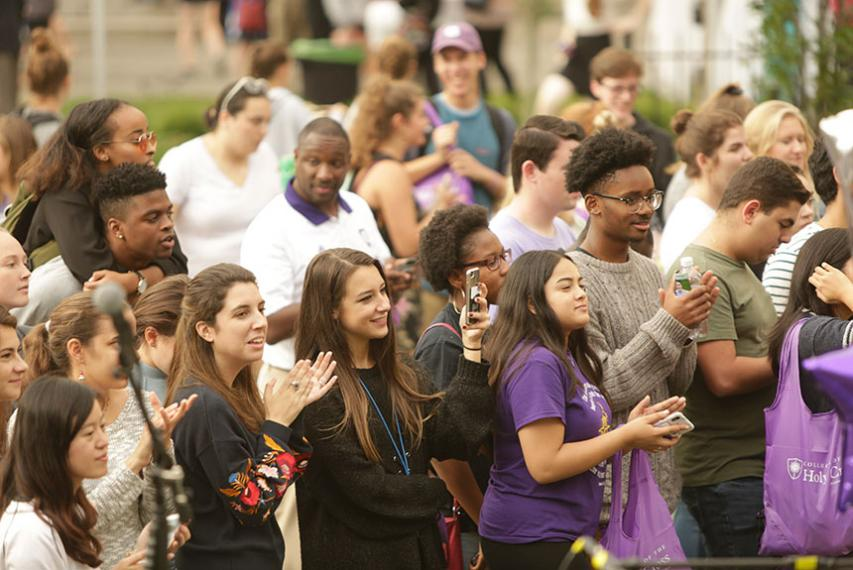 A group of students watch the performances during the 175th Anniversary Celebration. Photo by Tom Rettig