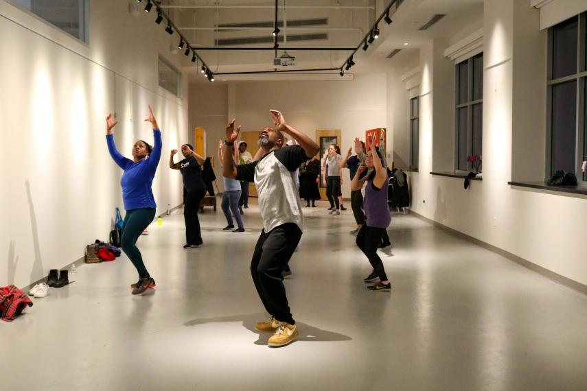 Ronald K. Brown leads a dance workshop