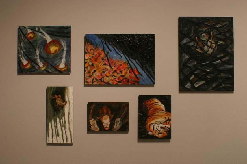 Installation view of paintings by Laura Radville
