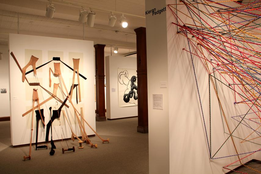 Installation view, pieces by Tina Sato and Kieran Padget