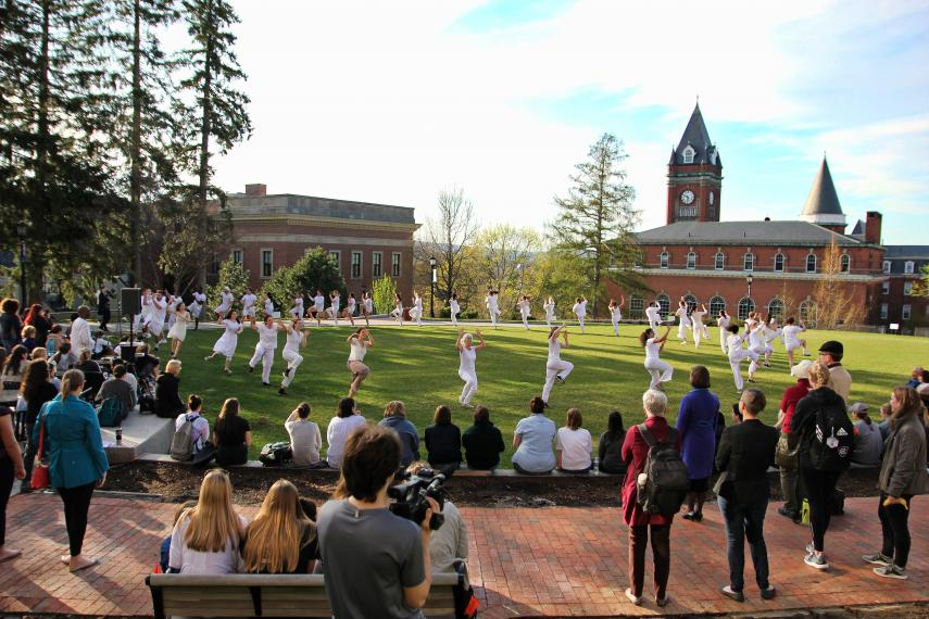 Audiences watch student and community dancers perform on the Hoval