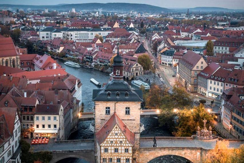 Aerial view of Altes Rathaus (old town hall) in Bamberg, Germany.