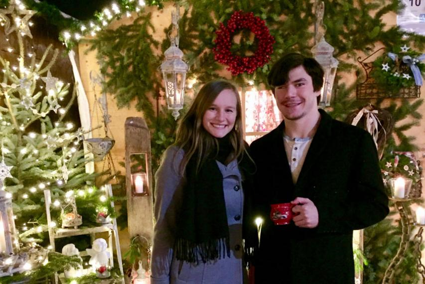 Michael Melch '20 and MacKenzie Swain '20 at the Bamberg Christmas market.