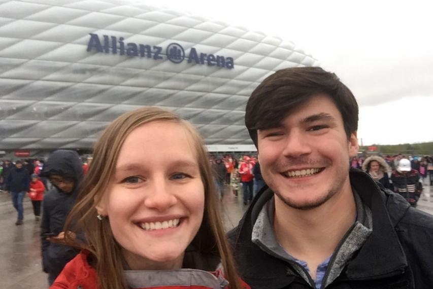 Michael Melch '20 and MacKenzie Swain '20 at the Allianz Arena, a football stadium in Munich, Germany.