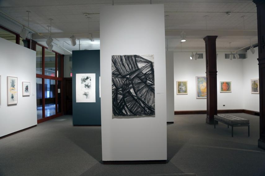 View from back of gallery with large scale drawing